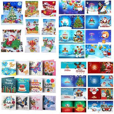 Cartes de vœux avec peinture dia...