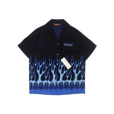 Discount Custom Apparel Short Sleeve Button Down Shirt: Blue Tops - Size Small