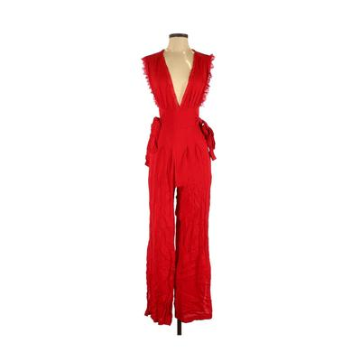Free People Jumpsuit: Red Solid ...