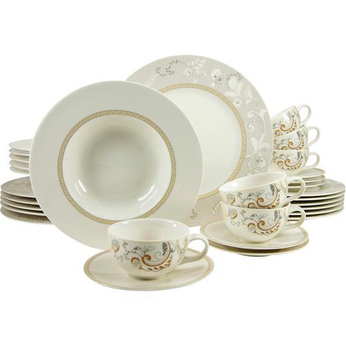 CreaTable Kombiservice Palacio, (Set, 30 tlg.) beige Geschirr-Sets Geschirr, Porzellan Tischaccessoires Haushaltswaren