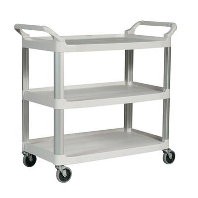 Rubbermaid FG409100OWHT 3 Level Polymer Utility Cart w/ 300 lb Capacity, Raised Ledges