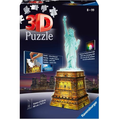 Ravensburger 3D-Puzzle Freiheitsstatue bei Nacht, Made in Europe, FSC - schützt Wald weltweit bunt Kinder Ab 6-8 Jahren Altersempfehlung