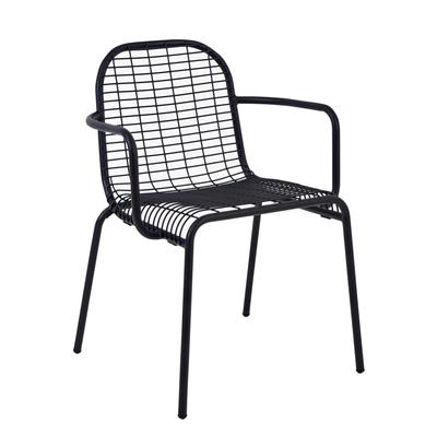 emu 215 Outdoor Stacking Armchair w/ Wire Mesh Back & Seat - Steel Frame, White