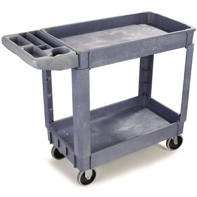 Carlisle UC4018-23 2 Level Polymer Utility Cart w/ 500 lb Capacity, Raised Ledges