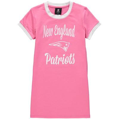 Girls Youth New England Patriots Pink Yardline Ringer T-Shirt Dress