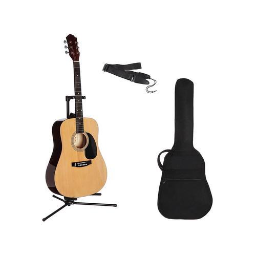 Gitarrenset Westerngitarre, 4/4, mit Tasche und Gitarrengurt beige Gitarre Musikinstrumente