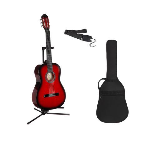 Gitarrenset Konzertgitarre, 1/4, inkl. Gitarrentasche und Gitarrengurt rot Audio SOFORT LIEFERBARE Technik