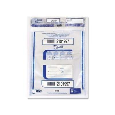"""PM Company PMC58050 Triple Protection Tamper-Evident Deposit Bags, 15"""" x 20"""", Clear, 50 Per Pack"""