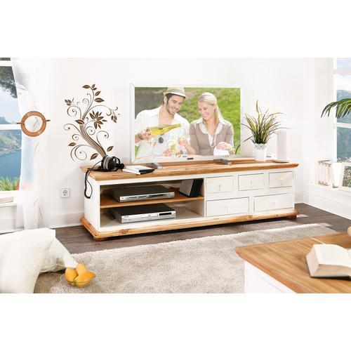 Mexico Lowboard TV-Kommode, Pinie weiß / honig, Landhaus Möbel, shabby