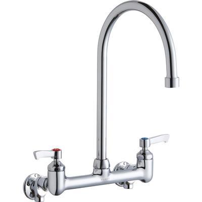 """Elkay LK940GN08L2S Splash Mount Faucet w/ 8"""" Gooseneck Spout & 2"""" Wrist Blade Handles - 8"""" Centers"""