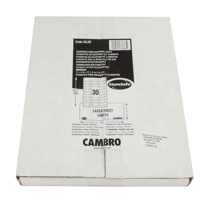 Cambro SLL30 StoreSafe Food Rotation Label Laser Sheet - 1x2 1/2