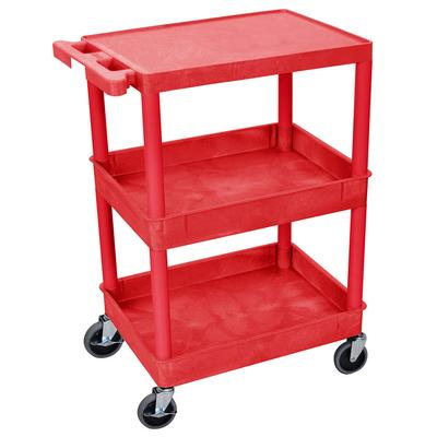 Luxor RDSTC211RD 3-Level Polymer Utility Cart w/ 300-lb Capacity, Raised Ledges