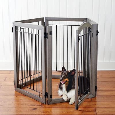 Luxury Six-panel Hardwood Pet Ga...