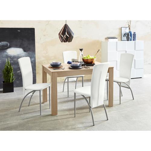 my home Essgruppe, (Set, 5 tlg.), Tischbreite 120 cm in eichefarben sägerau weiß Essgruppe Essgruppen Tische