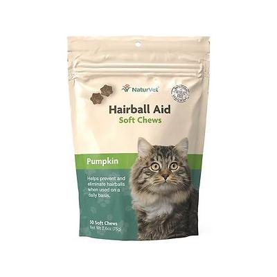 NaturVet Hairball Aid Supplement Plus Pumpkin Cat Soft Chews, 50 count