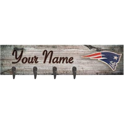 """New England Patriots 24"""" x 6"""" Personalized Mounted Coat Hanger"""