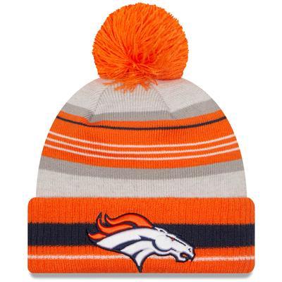 Men's Denver Broncos New Era Gray/Orange Cuffed Knit Hat with Pom