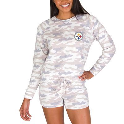 Women's Pittsburgh Steelers Concepts Sport Camo Encounter Long Sleeve Top & Short Set