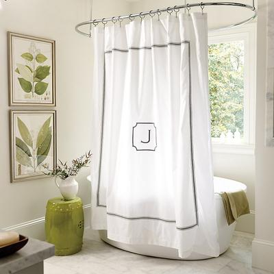 """Amelie Embroidered Shower Curtain Spa 72"""" - Ballard Designs"""