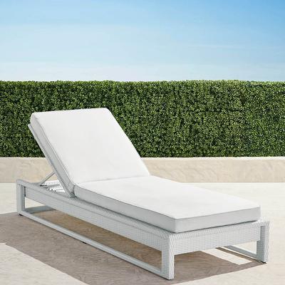 Palermo Chaise Lounge with Cushions in White Finish - Rain Cobalt , Custom Sunbrella Rain, Special Order - Frontgate