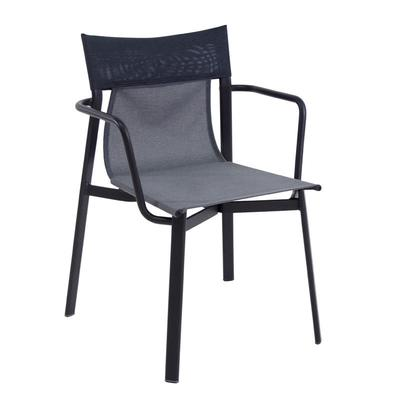 emu 799 Outdoor Stacking Armchair w/ Blue Fabric Back & Seat - Aluminum Frame, White