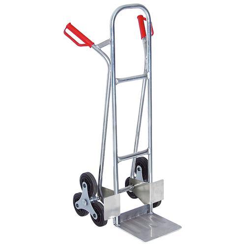 Treppensackkarre, BxTxH 520x560x1210 mm, Tragkraft 150 kg silberfarben Sackkarren Transport Werkzeug Maschinen