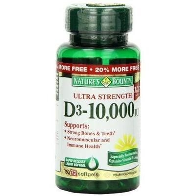 Nature's D3-10000 IU Softgels Ultra Strength, 10000 IU, 60 Caps