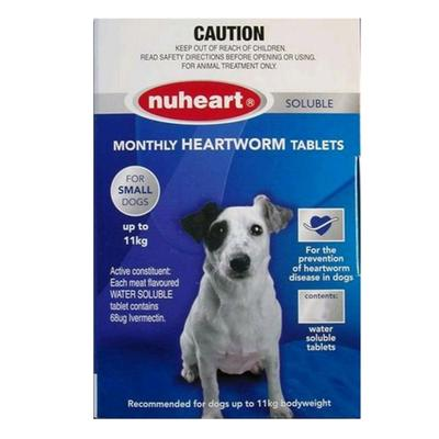 Nuheart Generic Heartgard (Blue) Small Dogs upto 25lbs 6 Tablet