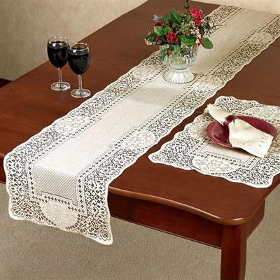 Canterbury Classic Lace Large Table Runner 14 x 72, 14 x 72, Ecru