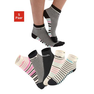 Bench. Kurzsocken, (5 Paar), im Streifendesign bunt Damen Kurzsocken Socken Strümpfe Wäsche