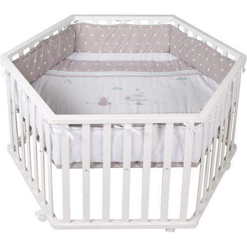 roba Laufgitter Indibär, 6-eckig, bis 15 kg, mit Laufgittereinlage weiß Baby Babygitter