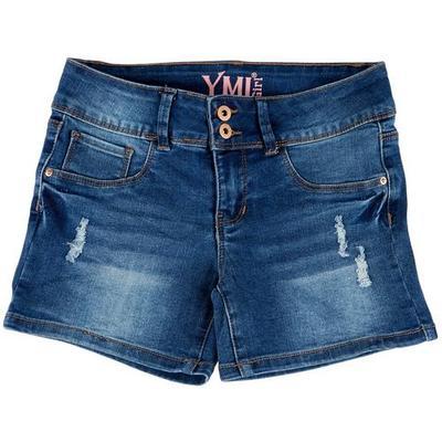 YMI Big Girls Double Button Destructed Denim Shorts