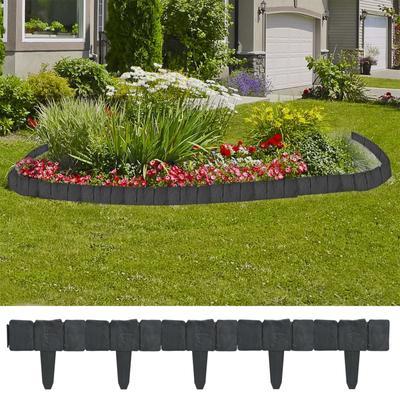 vidaXL Clôture de jardin/pelouse Plastique Aspect de pierre 41 pcs 10m