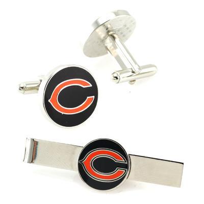 Chicago Bears Silvertone Team Logo Tie Clip & Cufflinks Set