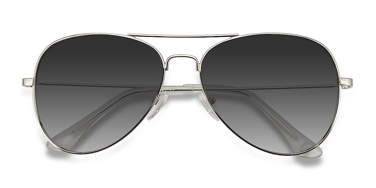 Unisex Aviator Silver Metal Prescription sunglasses - EyeBuydirect's Good Vibrations