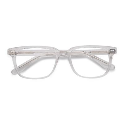 Unisex Rectangle Clear Acetate Prescription eyeglasses - EyeBuydirect's Pacific