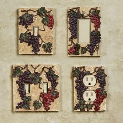 Vintage Harvest Grapes Single Switch Multi Earth , Multi Earth