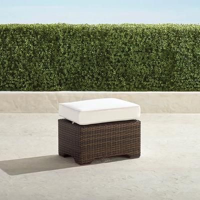 Small Palermo Ottoman with Cushion in Bronze Finish - Dove with Canvas Piping, Solid, Quick Ship - Frontgate