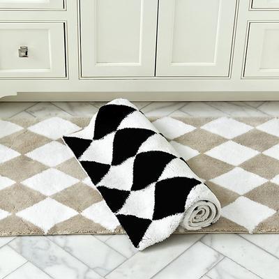 Harlequin Bath Rug Black Medium - Ballard Designs