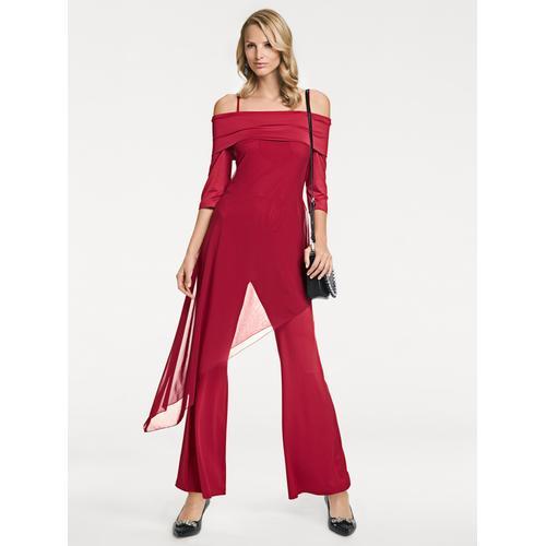Overall mit Chiffon-Besatz rot Damen Overalls H-Typ Figurtyp-Beratung