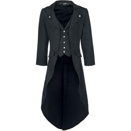 Banned Alternative Dovetail Coat Herren-Militärmantel - schwarz