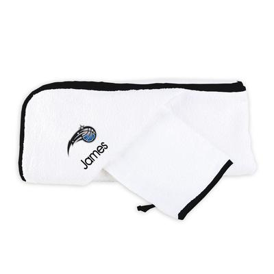 """""""Infant White Orlando Magic Personalized Hooded Towel & Mitt Set"""""""