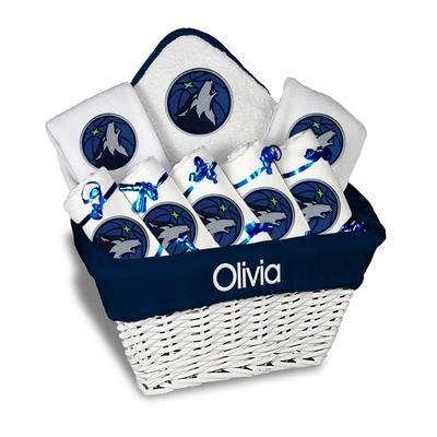 """Newborn & Infant White Minnesota Timberwolves Personalized Large Gift Basket"""