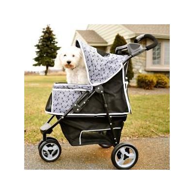 Pioneer Gen7Pets Promenade 3 Wheeled Foldable Pet Safety Outdoor Travel Stroller - Black Onyx