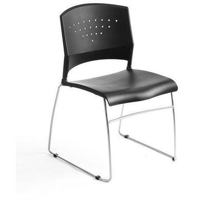 Boss Gloves Boss Office B1400-BK-5 Black Stack Chair With Chrome Frame 5 Pcs Pack