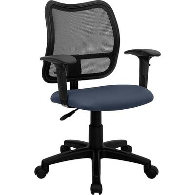 """Flash Furniture WLA277NVYAGG 22"""" MidBack Mesh Task Chair with Navy Blue Fabric Seat and Arms WLA277N"""