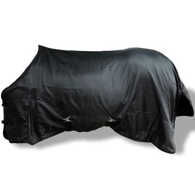 vidaXL Tapis en toison doubles-couches noir 155 cm