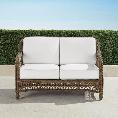 Hampton Loveseat with Cushions in Driftwood Finish - Sailcloth Salt, Solid, Special Order - Frontgate