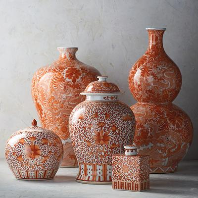 Coral and White Chinoiserie Dragon Double Gourd Vase - Frontgate