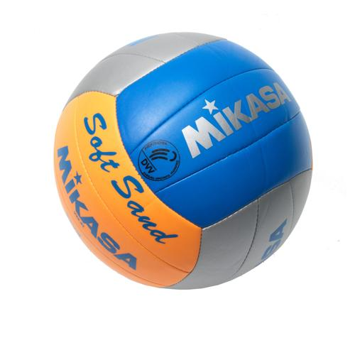 Mikasa SoftSand Beachvolleyball in grau/orange/blau, Größe 5